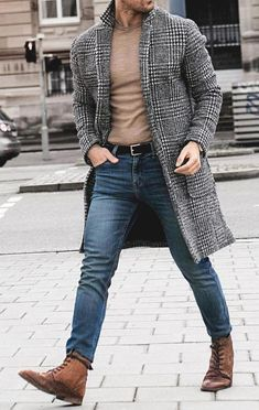 Vintage lapel collar check printed winter long coat in 2019 Latest Mens Fashion, Fashion Mode, Fashion Night, Classy Mens Fashion, Fashion Edgy, Fashion Ideas, Men Winter Fashion, Classic Fashion Outfits, Fashion Trends