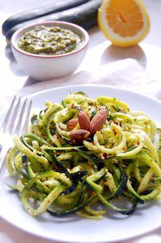 15 Minute Zucchini Noodles with Almond Herb Pesto | uprootkitchen.com