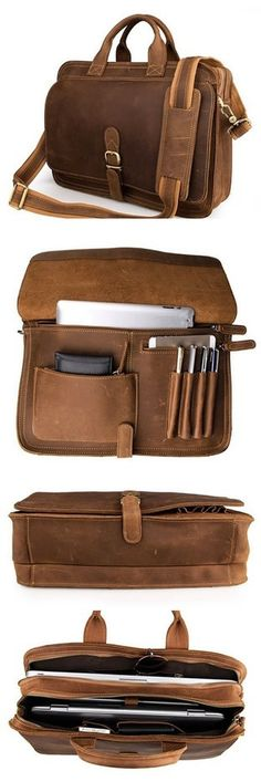 """Men's Vintage Leather Briefcase / Messenger Bag / 13"""" 15"""" MacBook 13"""" 14"""" Laptop Bag"""