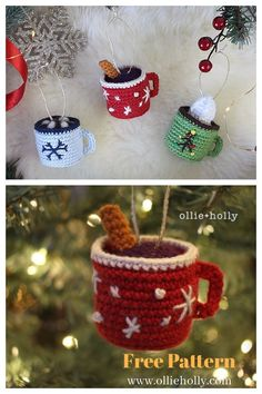 Crochet Christmas Decorations, Crochet Christmas Ornaments, Crochet Decoration, Christmas Crochet Patterns, Holiday Crochet, Christmas Knitting, Crochet Crafts, Yarn Crafts, Free Crochet