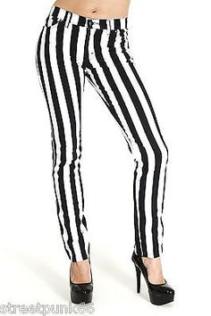 Run & Fly New Womens Skinny Stretch Mid Rise Black and White Stripe Jeans Indie Retro UK Waist / Leg Long Grunge Goth, Striped Jeans, Striped Leggings, Beetlejuice, Jeans Skinny, Skinny Fit, Stretch Jeans, Black White Stripes, Black And White