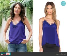Abby's blue lace-trim cami on Girlfriends Guide to Divorce. Outfit Details: https://wornontv.net/55101/ #GG2D