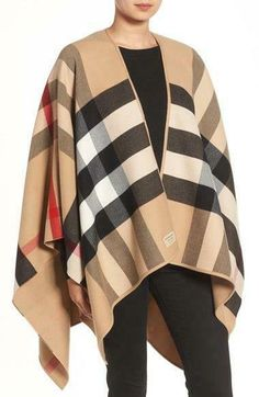 7b45ad048a0eb7 eBay #Sponsored NEW BURBERRY CAMEL CHECK REVERSIBLE SOLID CAPE PONCHO  JACKET ONE SIZE. Women's Clothing