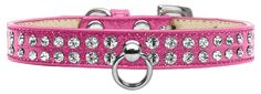 Pink Dog Collar with Czech Crystals and Decorative O-Ring