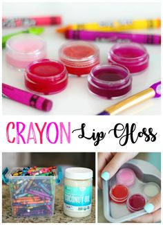 This colorful crayon lip gloss is made from coconut oil and crayons. Such a simple activity for kids to make. You can add scents if you'd like and make them any color of the rainbow depending on what color of crayon you choose! Lip Gloss Homemade, Diy Lip Gloss, Gloss Matte, Lip Gloss Colors, Lip Colors, Homemade Lipstick, Making Crayons, Diy Crayons, Broken Crayons