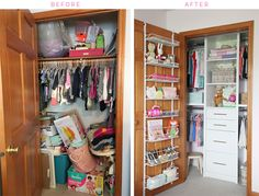 IHeart Organizing: Before & After: Organized Girl's Bedroom Closet    http://www.iheartorganizing.com/2017/05/before-after-organized-girls-bedroom.html