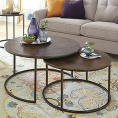 "hughes catalina nesting coffee table. 40"" round and 31.5"" round"