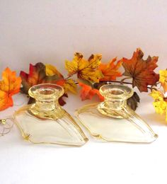 Depression Glass Candlestick Holders  by happenstanceNwhimsy