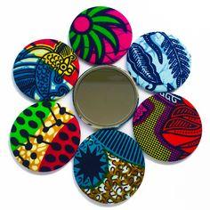 Pocket mirrors in Ankara wax print by BadgeArts