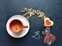 """A artista Cinzia Bolognesi tem o hábito de desenhar enquanto toma café da manhã. Sua conta no Instagram reúne algumas dessas ilustrações que, segundo ela, são realizadas """"inconscientemente""""."""