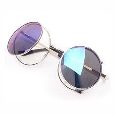 cc30a5ce53 Vintage Mouse Style Round Flip Up Sunglasses Silver Mirror Blue Blue  Sunglasses