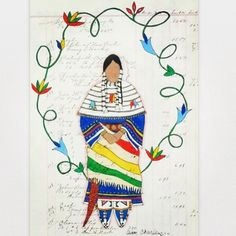 Ledger Art by Avis Charley. Native American Artwork, Native American Artists, American Indian Art, American Indians, Native Drawings, Native Beadwork, Indigenous Art, Aboriginal Art, Native Art