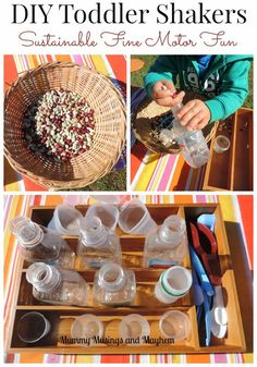 Toddler Fine motor fun making their own musical shakers using sustainable materials..