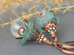 FRANCES ... Vintage Style Earrings ... with Lucite by junipermoon