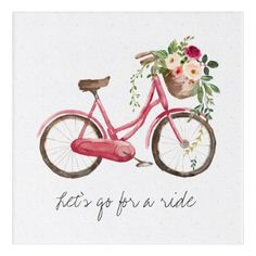 Spring Flower Bike Acrylic Wall Art - spring gifts beautiful diy spring time new year Bicycle Painting, Bicycle Art, Pastel Watercolor, Watercolor Cards, Watercolor Paintings For Beginners, Bike Poster, Spring Painting, Acrylic Wall Art, Nail Designs Spring