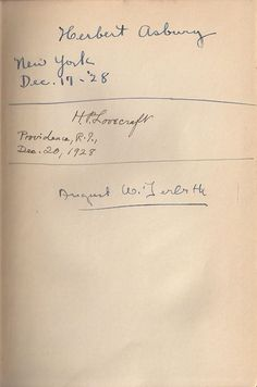 Not At Night - Signed 1928 by Derleth, HP Lovecraft and Herbert Asbury