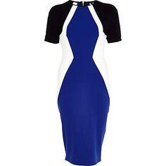 Blue colour block bodycon dress - bodycon dresses - dresses - women