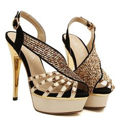 $16.96 Elegant Women's Sandals With Rivets and Sexy Gold High Heel Design