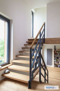HPL and steel staircase «Treppenbau Schmidt GmbH - Best Interior Design Ideas Modern Stair Railing, Staircase Design, Steel Stairs Design, Steel Stair Railing, Metal Stairs, Staircase Ideas, Open Stairs, Floating Stairs, House Stairs
