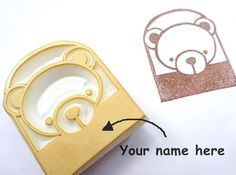 Bear name stamp Teddy bear with name by JapaneseRubberStamps