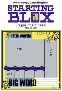 created using the Starting Blox from last week.  Do you remember it? It had spaces for six photographs, and here is how they laid out...    I was tickled to receive some great projects, and a couple of the scrappers gave me permission to share their pages. Herr is some visual inspiration, using the Scr