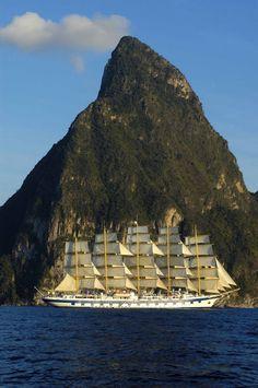 Royal Clipper in St. Lucia, Carib.
