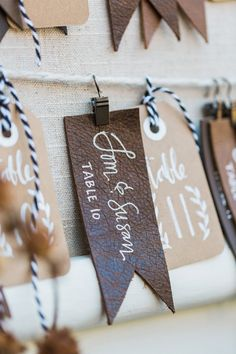 leather escort tags - photo by Jessica Cooper Photography… Edgy Wedding, Rustic Wedding Flowers, Spring Wedding Flowers, Dream Wedding, Wedding Things, Wedding Gifts For Guests, Wedding Cards, Wedding Stationery, Wedding Invitations
