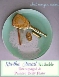 Martha Stewart Washable Decoupaged & Painted Plate