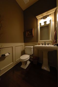 """Intimate 1/2 Bath, I know this sounds silly but I love intimate 1/2 baths for guest when they come over. We did 42"""" tall lacquered paneling ..."""