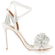 Aquazzura Wild Thing leather fringed sandals ($693) ❤ liked on Polyvore featuring shoes, sandals, heels, aquazzura, delete, white, fringe sandals, leather ankle strap sandals, white fringe sandals and fringe heel sandals