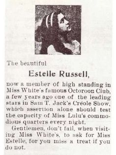 "Storyville add, ""Gentlemen don't fail... to ask for Estelle for you miss a treat if you do not."""