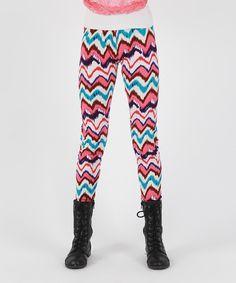 Loving this Lori & Jane Pink & Teal Ikat Leggings - Girls on #zulily! #zulilyfinds