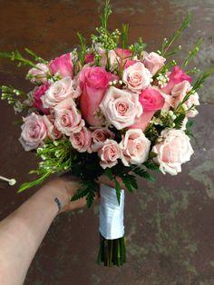 All pink rose bridal bouquet, wedding flowers, memphis, tn