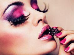 pink and purple makeup fashion girly colorful girl make up lipstick face eyes shadow Purple Makeup, Love Makeup, Makeup Looks, Purple Eyeshadow, Eyeshadow Makeup, Awesome Makeup, Sweet Makeup, Black Makeup, Stunning Makeup
