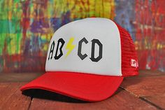 "Little Fit Red and White ""ABCD"" Trucker hat"