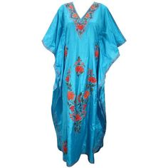 Women Kaftans Kashmiri Embroidered Silk Caftan Resort Wear Long Abaya... (3,850 INR) via Polyvore featuring tops, tunics, embroidered top, caftan, silk tunic, silk caftan and caftan tunic