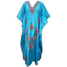 Women Kaftans Kashmiri Embroidered Silk Caftan Resort Wear Long Abaya... (3,850 INR) via Polyvore featuring tops, tunics, embroidered top, caftan, silk tunic, silk caftan and caftan tunic