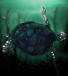 (NOW YOU CAN GET A MATTE FINISH!)Sea Turtle original art print in Matte and by BRGproductions, $18.00