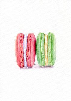 French Macarons ORIGINAL Painting Vintage от ForestSpiritArt
