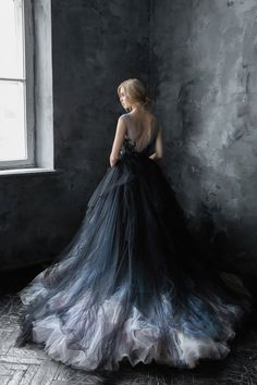 Black lace wedding dress with tulle volumetric skirt Black Wedding Dresses, Prom Dresses, Quinceanera Dresses, Halloween Wedding Dresses, Halloween Weddings, Woman Dresses, Shift Dresses, Dress Prom, Club Dresses