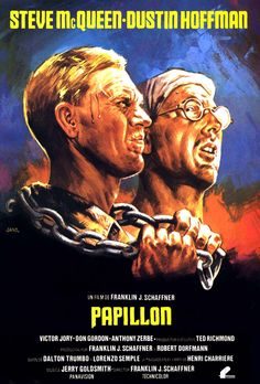 Official theatrical movie poster ( of for Papillon Directed by Franklin J. Starring Steve McQueen, Dustin Hoffman, Victor Jory, Don Gordon Old Movie Posters, Classic Movie Posters, Cinema Posters, Movie Poster Art, Classic Movies, Film Biographique, Film Gif, Bon Film, Film Movie