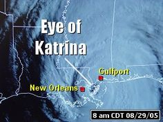 A satellite picture showing the eye of Hurricane Katrina in southeast Louisiana around 8 am CDT on 08/29/2005.