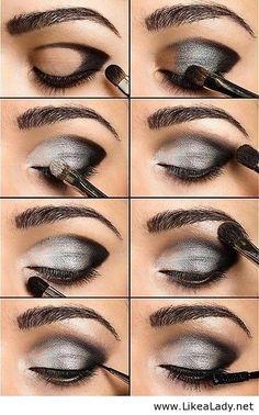 White gray black eye makeup