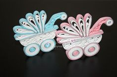 Paper Quilling Pink and White Baby Carriage by NavankaCreations