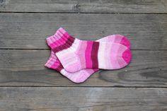 Hand knit pink socks stripey wool for women