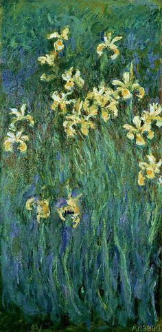 "1914-17, ""Yellow Irises"" - Claude Monet (1840–1926). oil on canvas."