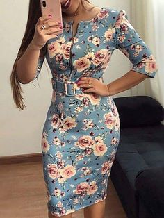 Floral Print Zipper Up Front Belted Dress - Floral Print Zipper Up Front Belted Dress Source by MissKristja - Fall Dresses, Casual Dresses, Short Dresses, Dresses For Work, Formal Dresses, African Fashion Dresses, Fashion Outfits, Womens Fashion, Fashion Skirts