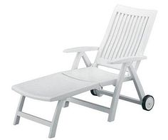 Kettler Roma White Plastic Resin Chaise Lounge Patio Poo