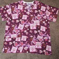 Scrub top ~  Breast Cancer Awareness  ~ XL Scrub top ~  Breast Cancer Awareness  ~ XL ~ 2 pockets on the front.  Tops Tees - Short Sleeve