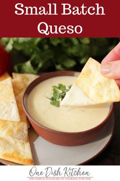 Small Batch Queso Recipe - This white queso recipe is our favorite! It's creamy, easy to make, and you only need 3 ingredien - Dip Recipes, Mexican Food Recipes, Snack Recipes, Cooking Recipes, Snacks, Bread Recipes, Sweet Recipes, White Queso Recipe, Queso Blanco